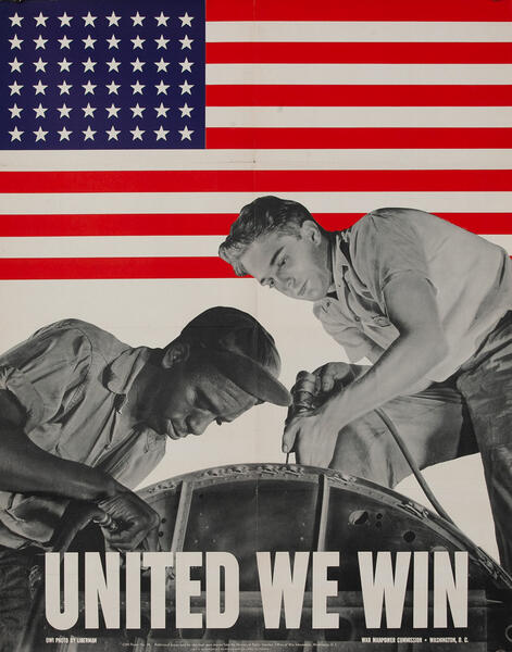 United We Win Original Vintage WWII Poster