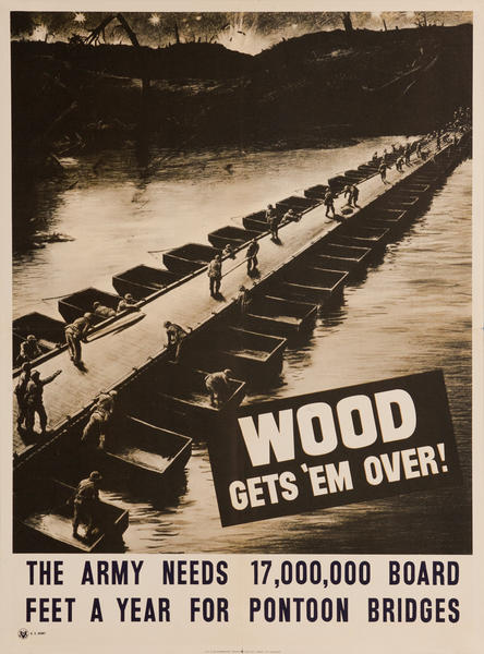Wood Gets 'Em Over Original Vintage WWII Poster