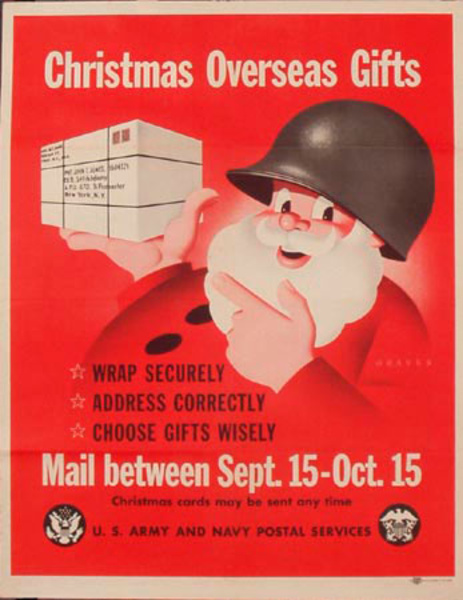 Christmas Overseas Gifts Original Vintage World War Two Poster