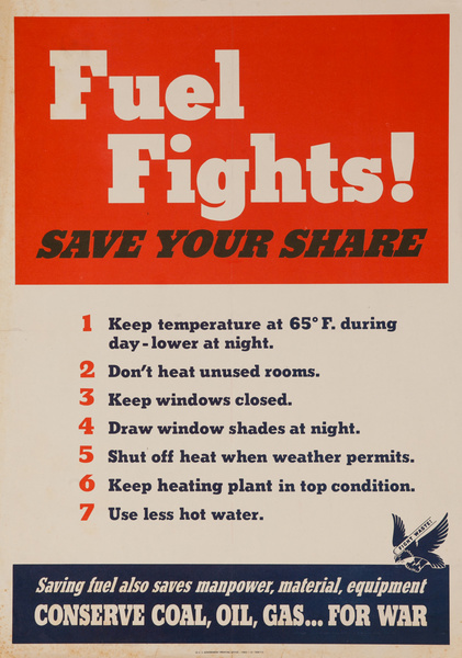 Fuel Fights, Save Your Share Original American WWII Poster