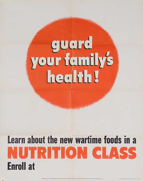 Nutrition Class,  Guard Your Family's Health Original American WWII Poster