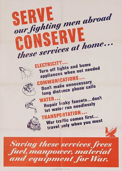 Serve Conserve Original American WWII Homefront Poster