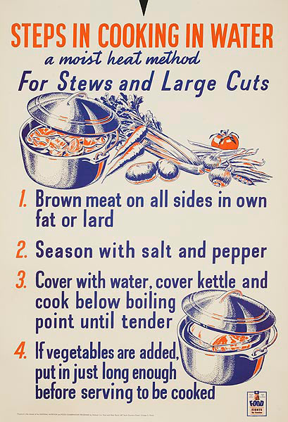 Steps in Cooking in Water WWII Homefront Nutrition Poster