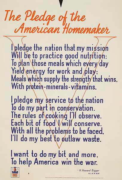 Pledge of the American Homemaker Original American WWII Homefront Nutrition Poster