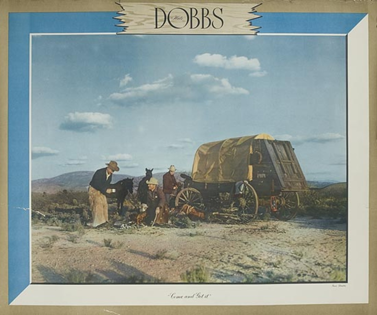 Dobbs Hat Original American Advertising Poster Chuck Wagon