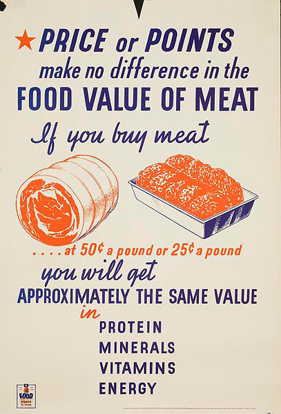 Food Value of Meat Original American WWII Homefront Nutrition Poster