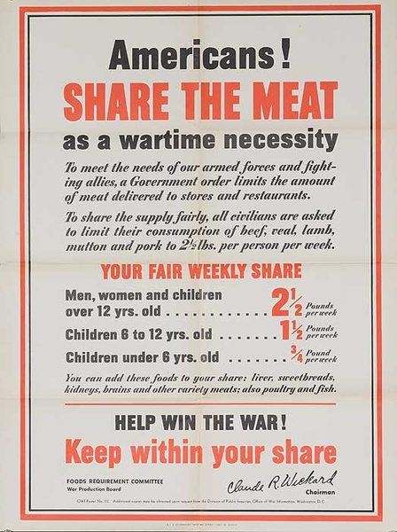Americans! Share the Meat Original American WWII Homefront Poster