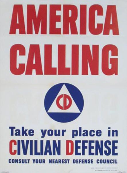 America Calling Original Vintage World War II Poster