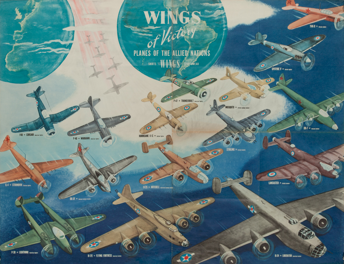 Wings Of Victory Planes of the Allied Nations Original American WWII Homefront Poster