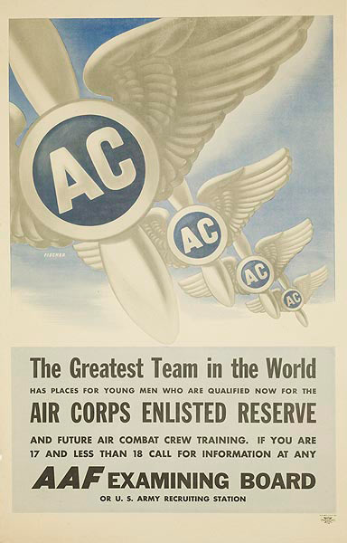 Air Corp Enlisted Reserve The Greatest Team in The World Original WWII Recruiting Poster