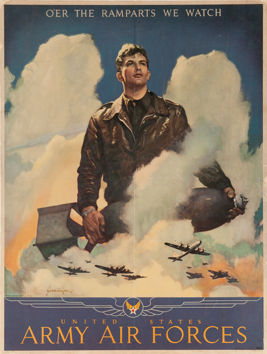 Army Air Forces Original Vintage World War Two Poster Oer the Ramparts