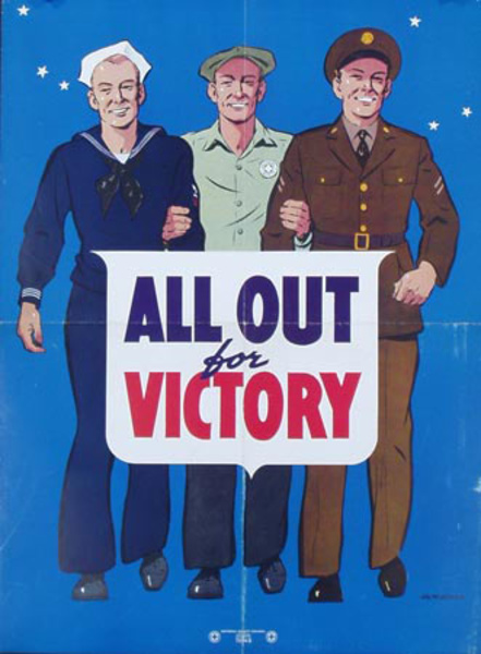 All Out Victory Original Vintage World War II Poster