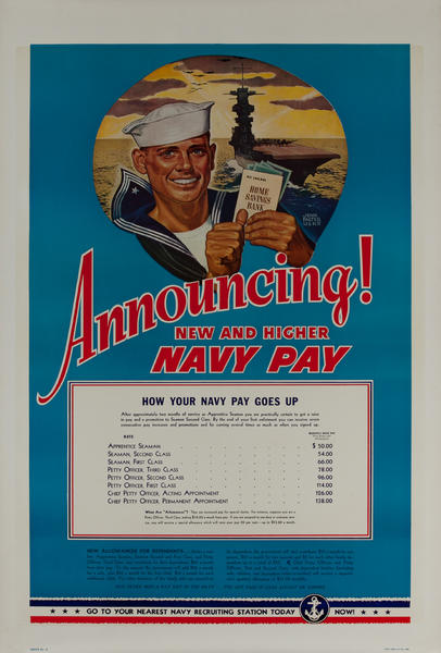 Announcing New and Higher Navy Pay, Original Pre-WWII American Recruiting Poster