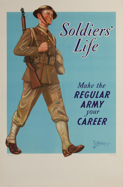 Soldiers' Life, Make the Regular Army Your Career Original WWI Recruiting Poster