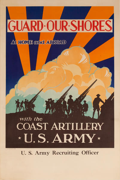 Guard Our Shores Original American WWII Coast Artillery US Army Recruiting Poster