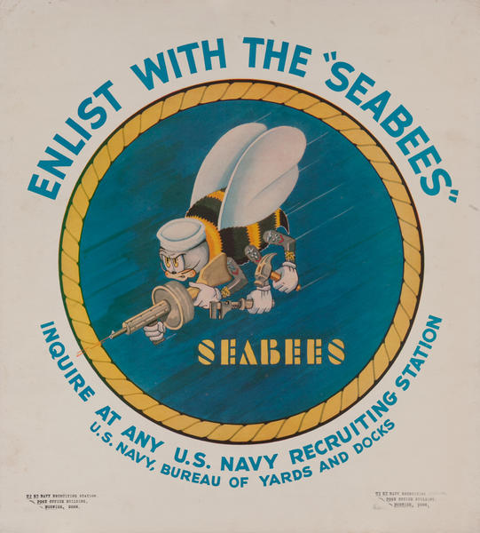Enlist With The Seabees Original American WWII Recruiting Poster