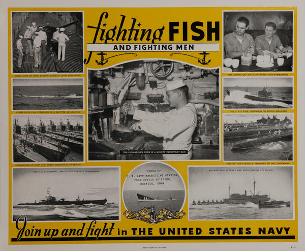Fighting Fish and Fighting Men Join Up And Fight Original American WWII Navy Recruiting Poster