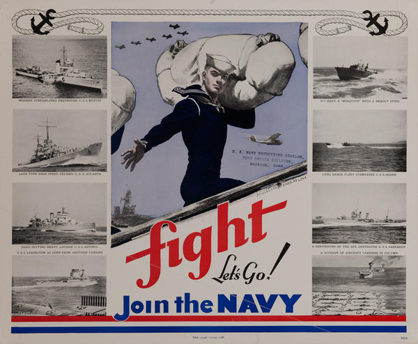 Fight Let's Go Join The Navy Original American WWII Recruiting Poster