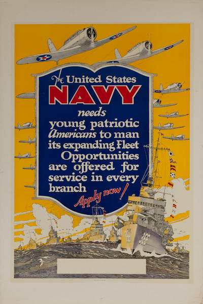The United States Navy Needs Young Patriotic Americans Original WWII Recruiting Poster