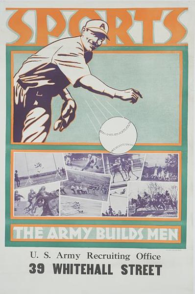 The Army Builds Men Baseball Sports Original pre WWII Recruit ing Poster