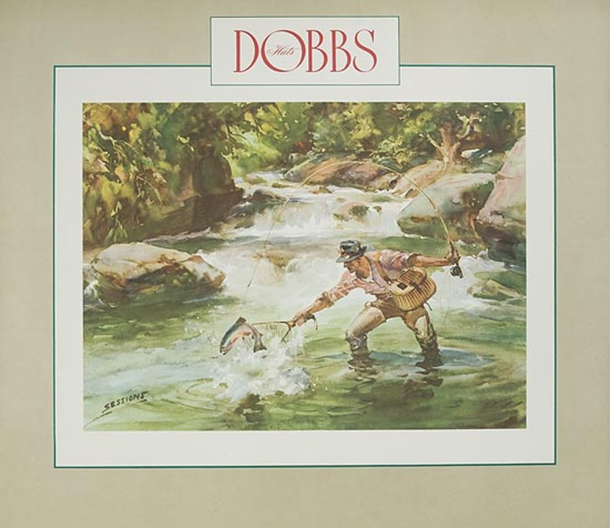 Dobbs Hat Original American Advertising Poster Flyfishing