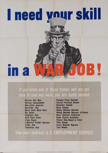 I Need Your Skill In a War Job Original American WWII Recruiting Poster