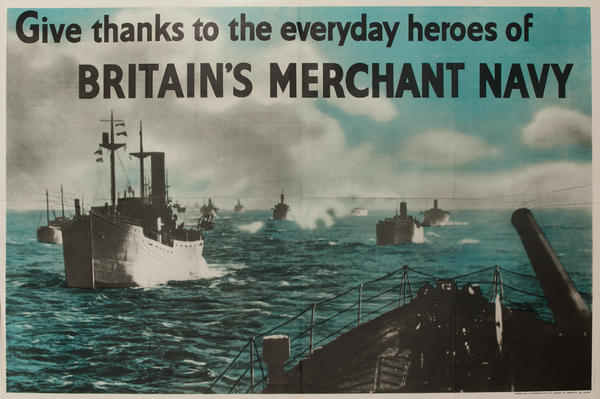 Give Thanks to the Everyday Heroes of Britain's Merchant Navy Original Vintage Post WWII British Poster
