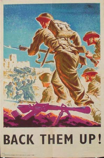 WWII Original Vintage British Poster Back Them Up Infantry