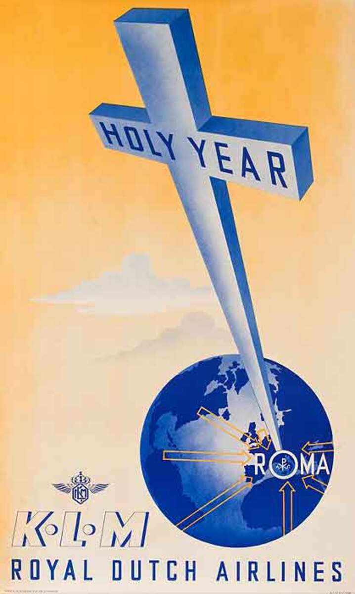 Holy Year KLM Royal Dutch Airlines Original Travel Poster