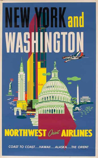 Northwest Orient Airlines Original Travel Poster New York and Washington DC