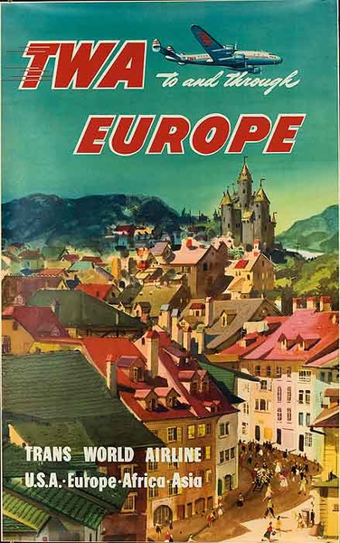 TWA Trans World Airline To and Through Europe Original Travel Poster