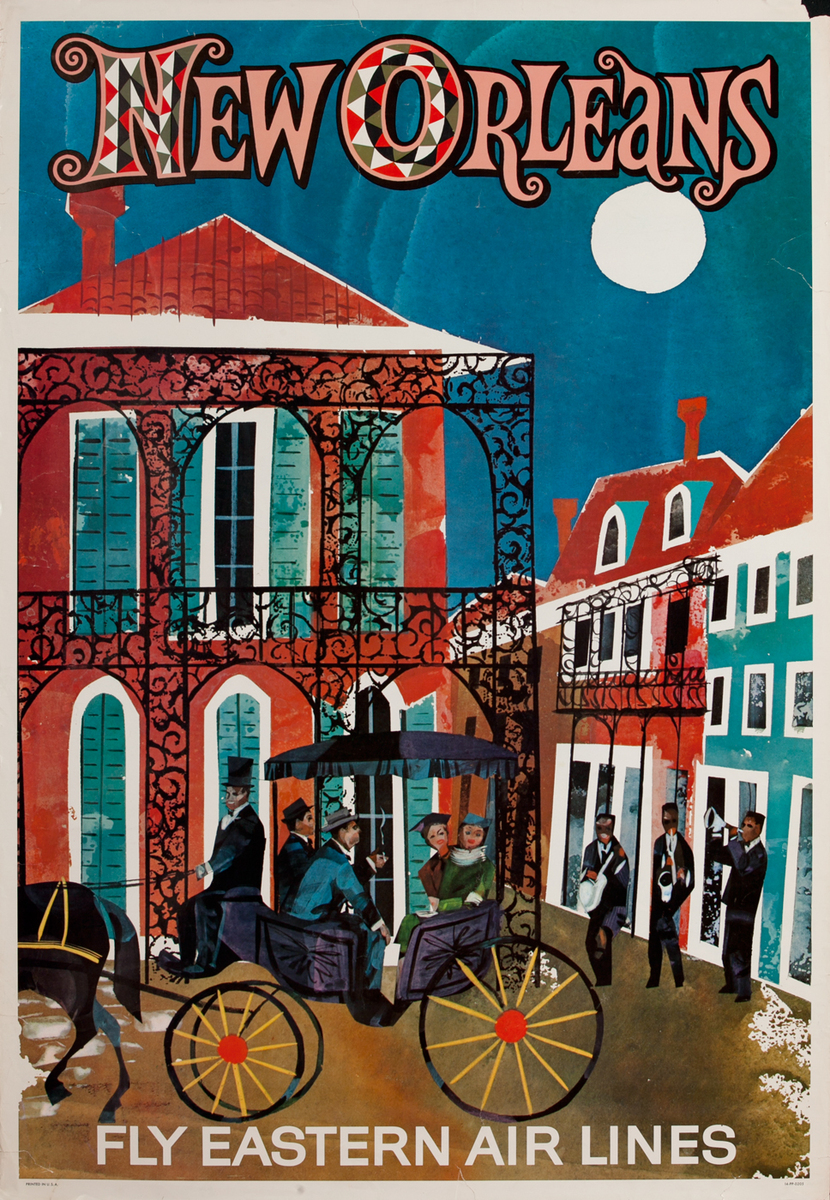 Eastern Air Lines New Orleans Original Travel Poster