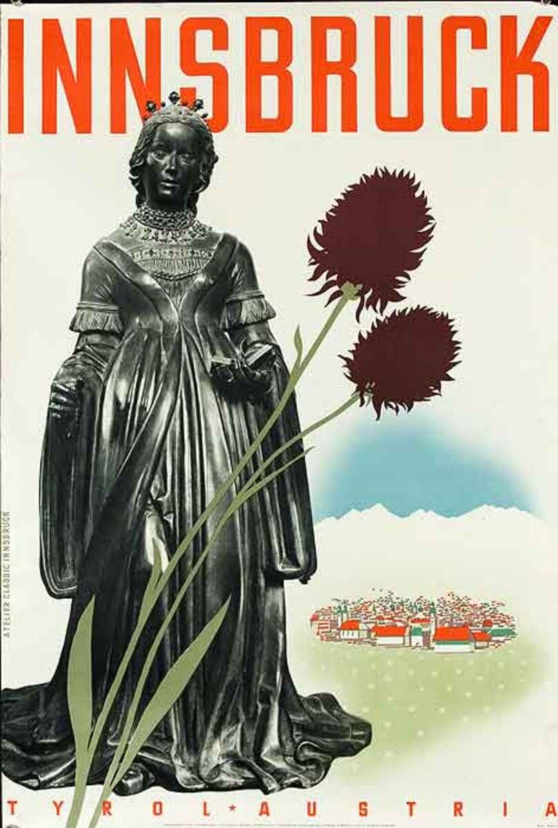 Innsbruck Tryol Austria Original Travel Poster Statue