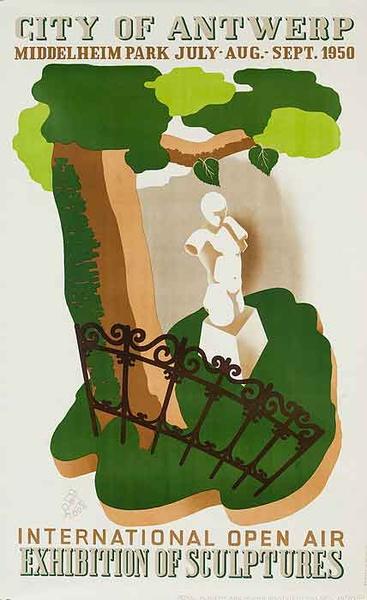 City Of Antwerp International Exhibition of Sculptures Original Belgiona Travel Poster