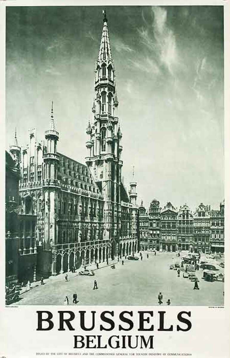 Brussels  Original Belgiona Travel Poster cathederal photo