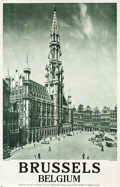 Brussels  Original Belgiona Travel Poster cathederal photo