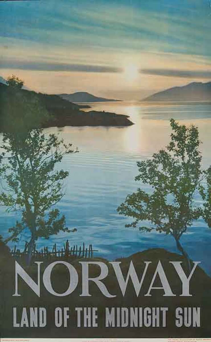 Norway Land of Midnight Sun Original Travel Poster