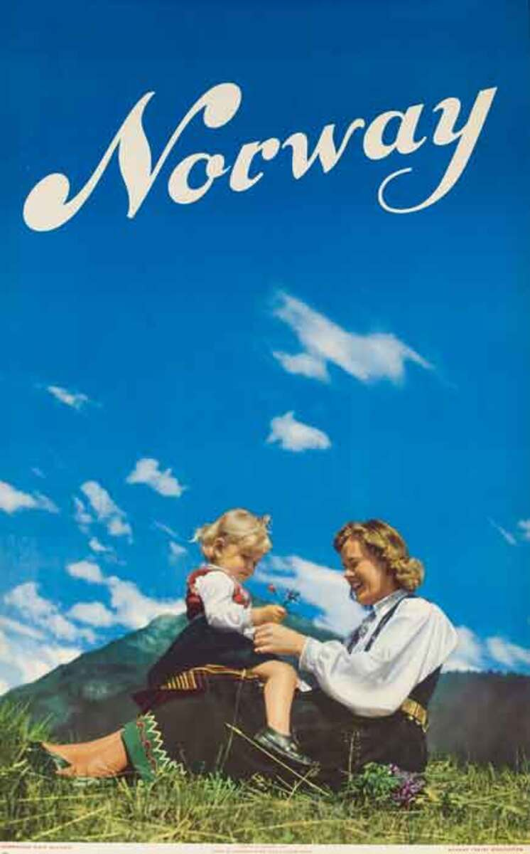Norway Original Travel Poster mother child photo
