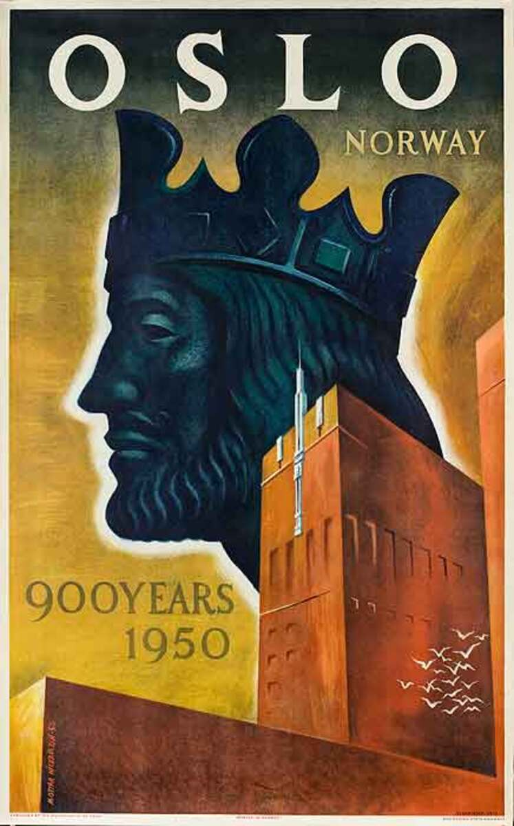 Oslo Norway 900 Years 1950 Original Travel Poster