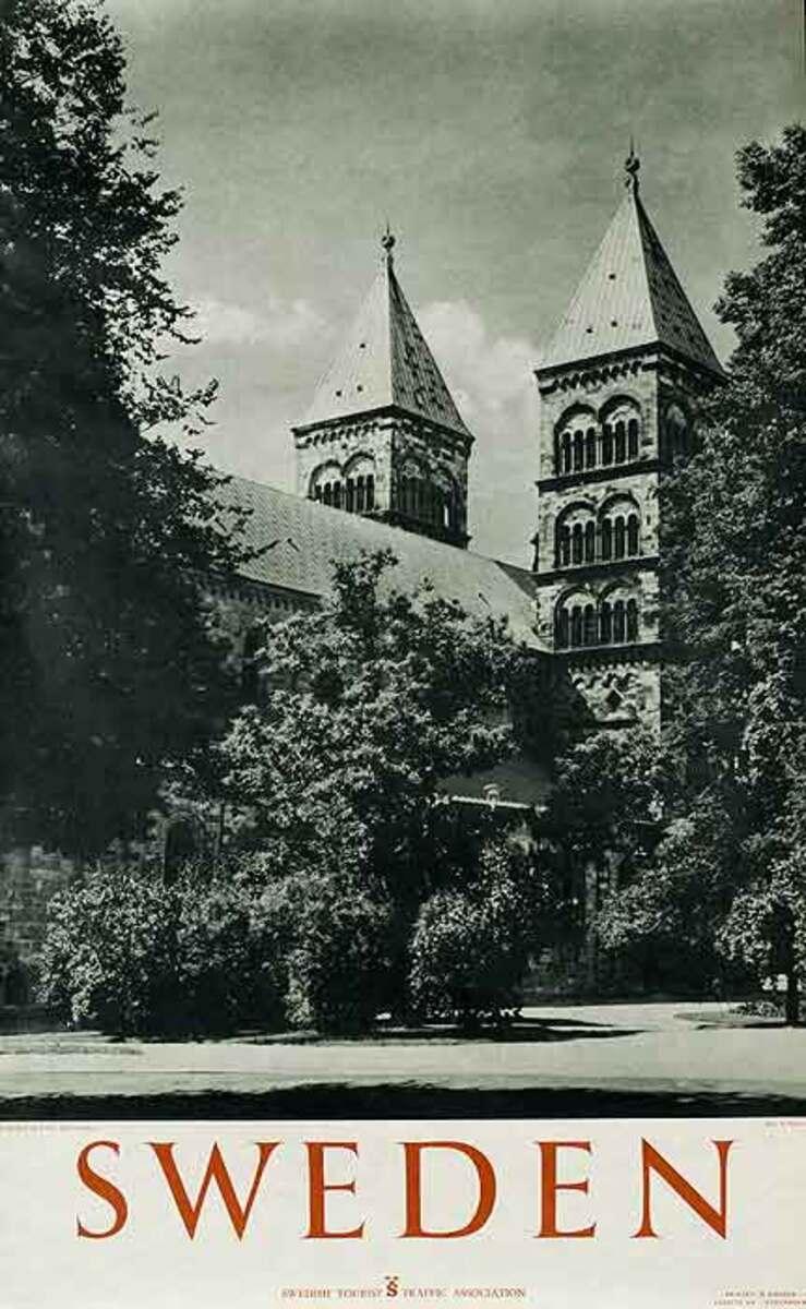 Sweden Original Travel Poster Building Photo