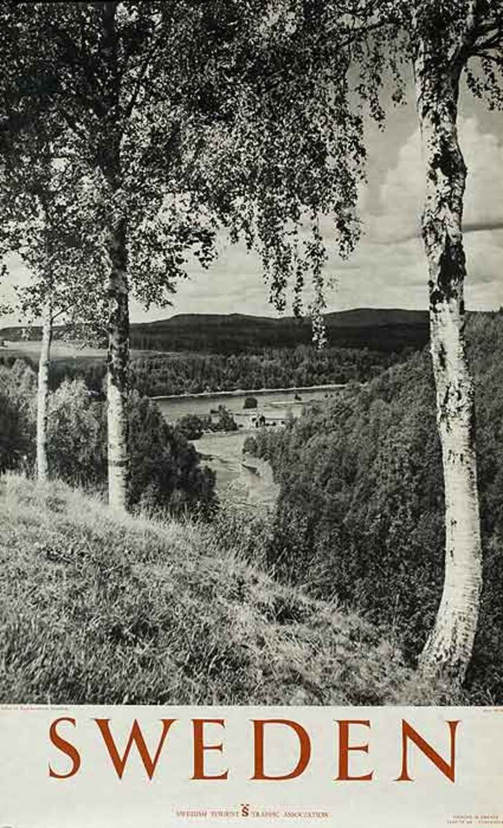 Sweden Original Travel Poster Farm and fields Photo