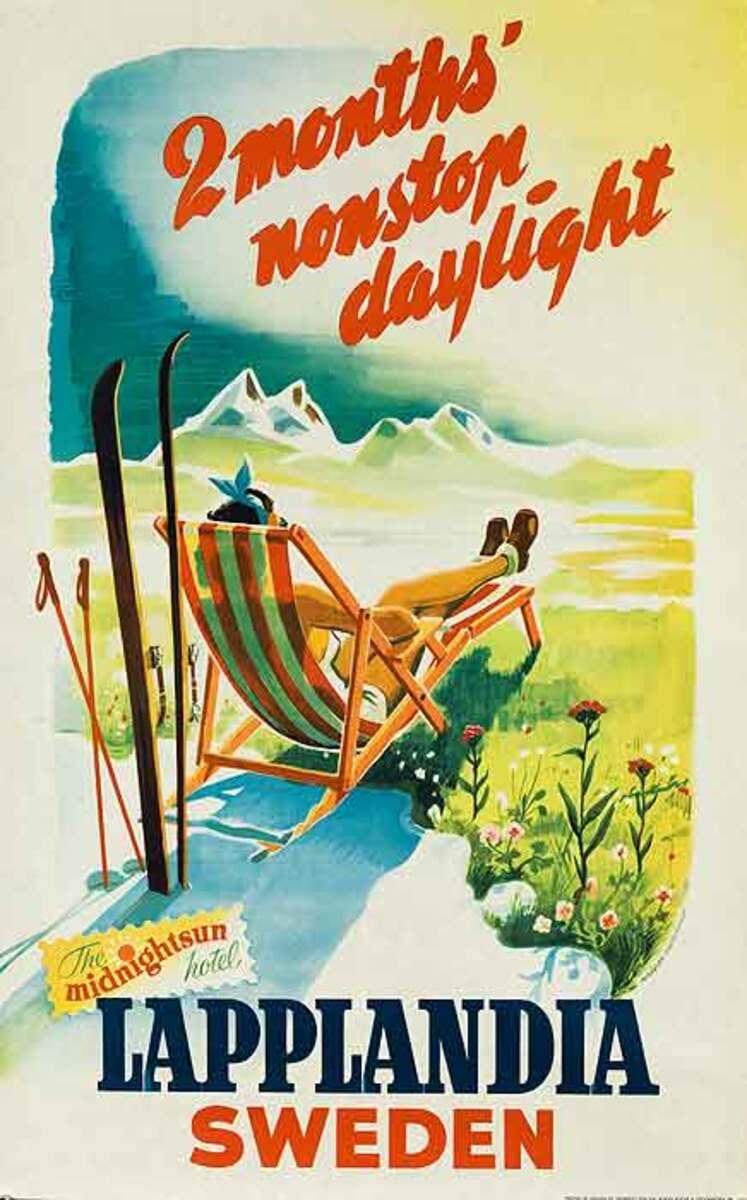 Lapplandia Sweden 2 Months Nonstop Daylight Original Travel Poster