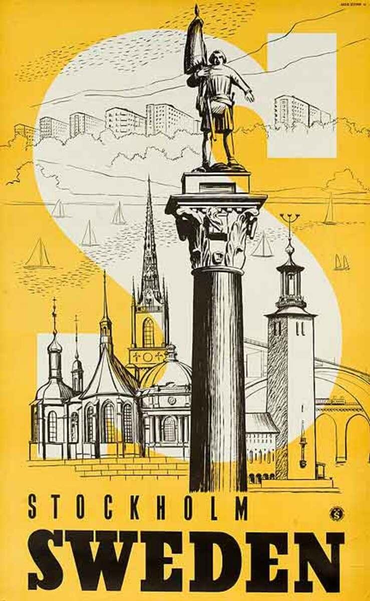 Stockholm Sweden Original Travel Poster