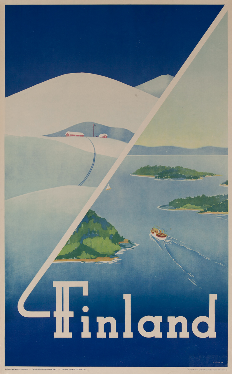 Finland Winter Summer Original Travel Poster
