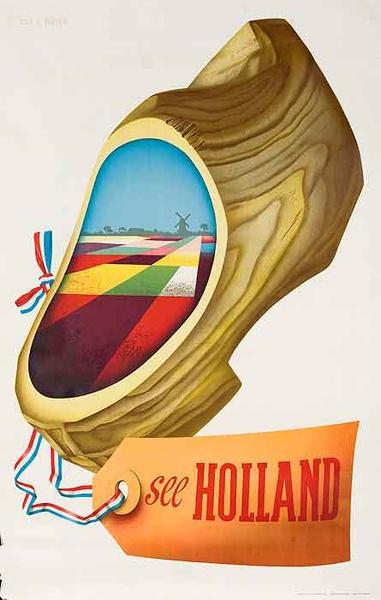 See Holland Wooden Shoe Original Travel Poster