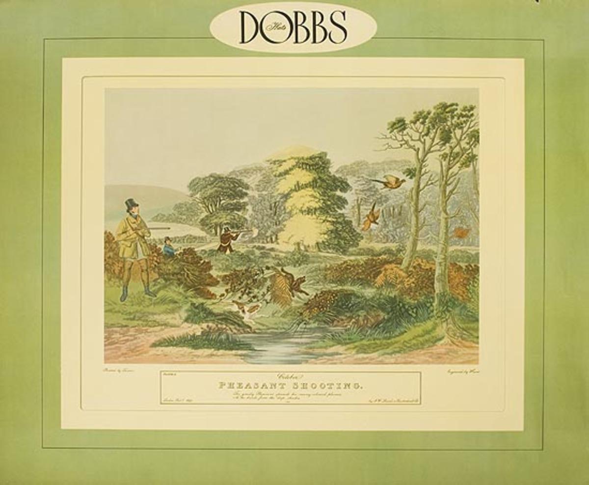 Dobbs Hat Original American Advertising Poster Pheasant Shooting