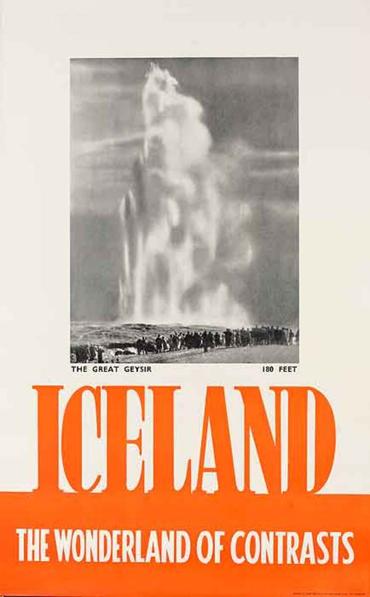 Iceland The Wonderland Of Contrasts Original Travel Poster