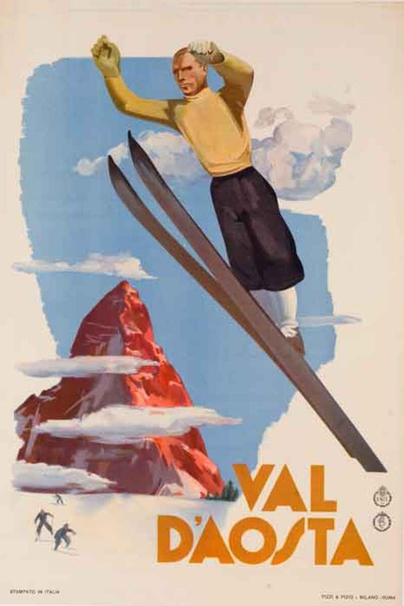 Val d'Aosta Original Italian ENIT Travel Poster Ski Jumper