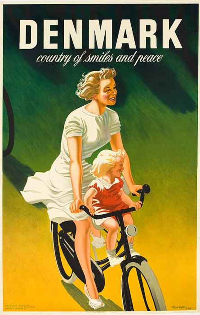 Denmark Country of Many Smiles and Peace Original Danish Travel Poster