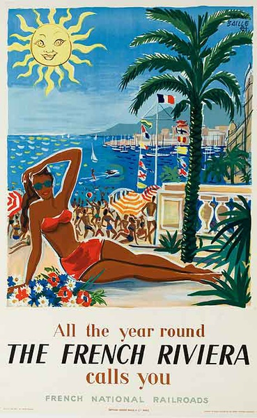 The French Riviera All Year Round Original French Travel Poster